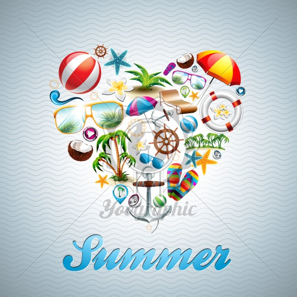 Vector Love Heart Summer Holiday design set on wave background.