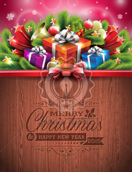 Engraved Merry Christmas and Happy New Year typographic design with holiday elements on wood texture background.