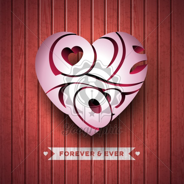 Vector Valentines Day illustration with 3d Love You typography design on wood texture background.