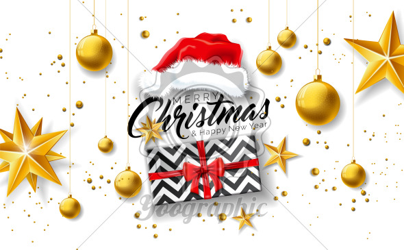 Merry Christmas Illustration with Gift Box, Santa Hat, Gold Glass Ball, Star and Typography Elements on White Background. Vector Holiday Design for Flyer, Greeting Card, Banner, Celebration Poster or Party Invitation. - Royalty Free Vector Illustration