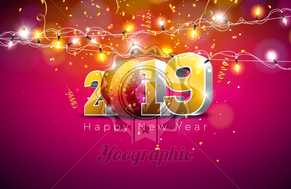 2019 Happy New Year illustration with 3d gold number, disco ball and lights garland on violet background. Holiday design for flyer, greeting card, banner, celebration poster, party invitation or calendar. - Royalty Free Vector Illustration