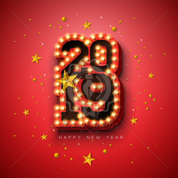 2019 Happy New Year illustration with 3d light bulb typography lettering and gold star on red background. Holiday design with shiny bright lights for flyer, greeting card, banner, celebration poster, party invitation or calendar. - Royalty Free Vector Illustration