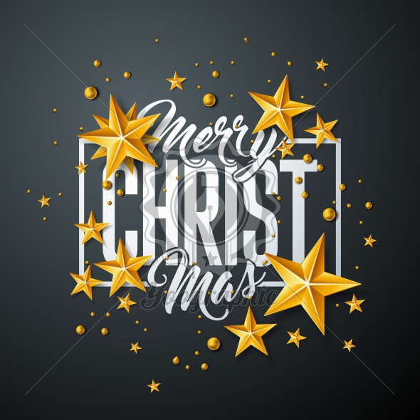 Merry Christmas Illustration with Gold Glass Ball, Star and Typography Elements on Black Background. Vector Holiday Design for Greeting Card, Party Invitation or Promo Banner. - Royalty Free Vector Illustration
