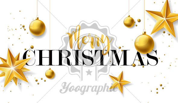 Merry Christmas Illustration with Gold Glass Ball, Star and Typography Elements on White Background. Vector Holiday Design for Greeting Card, Party Invitation or Promo Banner. - Royalty Free Vector Illustration
