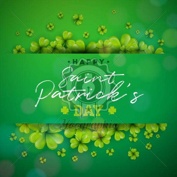 Happy Saint Patricks Day Background Design with Green Clover Leaf. Irish Beer Festival Celebration Holiday Design with typography and Shamrock for Greeting Card, Party Invitation or Promo Banner. - Royalty Free Vector Illustration