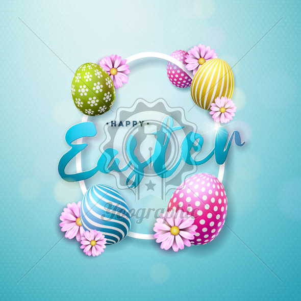 Vector Illustration of Happy Easter Holiday with Painted and Spring Flower on Shiny Blue Background. International Celebration Design with Typography for Greeting Card, Party Invitation or Promo Banner. - Royalty Free Vector Illustration