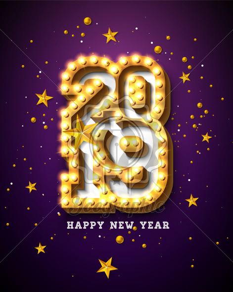 2019 Happy New Year illustration with 3d light bulb typography lettering and gold star on purple background. Holiday design with shiny bright lights for flyer, greeting card, banner, celebration poster, party invitation or calendar. - Royalty Free Vector Illustration