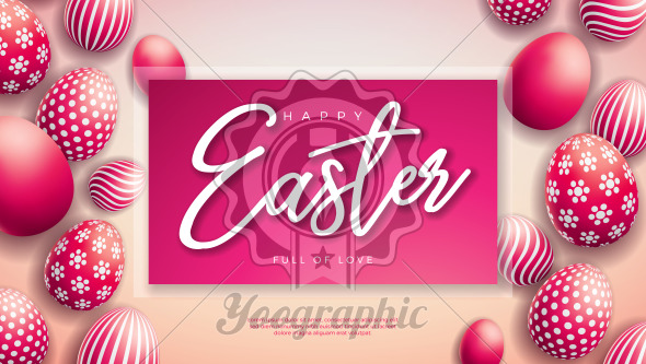 Vector Illustration of Happy Easter Holiday with Red Painted Egg on Light Background. International Celebration Design with Typography for Greeting Card, Party Invitation or Promo Banner. - Royalty Free Vector Illustration