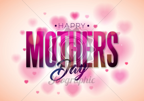 Happy Mothers Day Greeting card design with flower and typographic elements on heart background. Vector Celebration Illustration template for banner, flyer, invitation, brochure, poster. - Royalty Free Vector Illustration