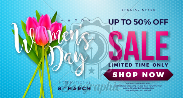 Womens Day Sale Design with Beautiful Colorful Flower on Blue Background. Vector Floral Illustration Template for Coupon, Banner, Voucher or Promotional Poster. - Royalty Free Vector Illustration