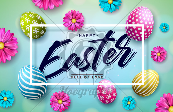 Happy Easter Illustration with Colorful Painted Egg and Spring Flower on Blue Background. International Holiday Celebration Vector Design with Typography Letter for Greeting Card, Party Invitation or Promo Banner. - Royalty Free Vector Illustration