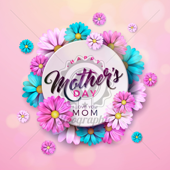 Happy Mothers Day Greeting card design with flower and typographic elements on pink background. Vector Celebration Illustration template for banner, flyer, invitation, brochure, poster. - Royalty Free Vector Illustration
