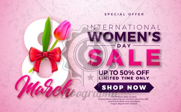Womens Day Sale Design with Beautiful Colorful Flower on Pink Background. Vector Floral Illustration Template for Coupon, Banner, Voucher or Promotional Poster. - Royalty Free Vector Illustration
