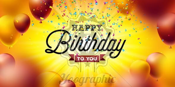Happy Birthday Vector Design with Balloon, Typography and Falling Confetti on Yellow Background. Illustration for birthday celebration. greeting cards or party poster. - Royalty Free Vector Illustration