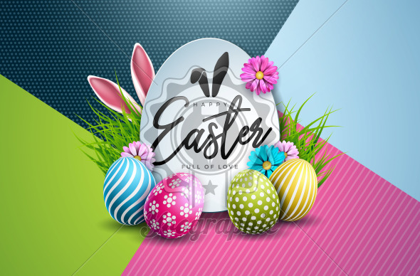 Vector Illustration of Happy Easter Holiday with Painted Egg and Spring Flower on Colorful Background. International Celebration Design with Typography for Greeting Card, Party Invitation or Promo Banner. - Royalty Free Vector Illustration