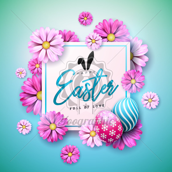 Happy Easter Holiday Design with Painted Egg and Spring Flower on Blue Background. International Vector Celebration Illustration with Typography for Greeting Card, Party Invitation or Promo Banner. - Royalty Free Vector Illustration