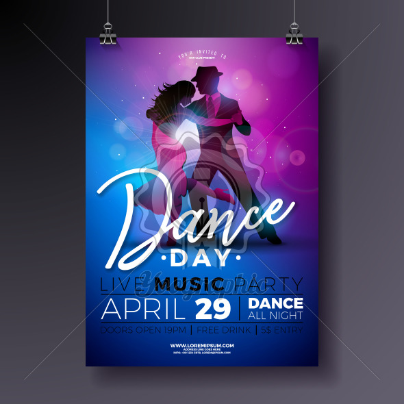 Dance Day Party Flyer design with couple dancing tango on shiny colorful background. Vector celebration poster illustration template for Ballroom Night. - Royalty Free Vector Illustration