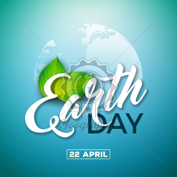 Earth Day illustration with Planet and Green Leaf. World map background on april 22 environment concept. Vector design for banner, poster or greeting card. - Royalty Free Vector Illustration