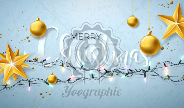Christmas Illustration with Glowing Colorful Lights Garland for Xmas Holiday and Happy New Year. Greeting Cards Design on Shiny Blue Background. - Royalty Free Vector Illustration