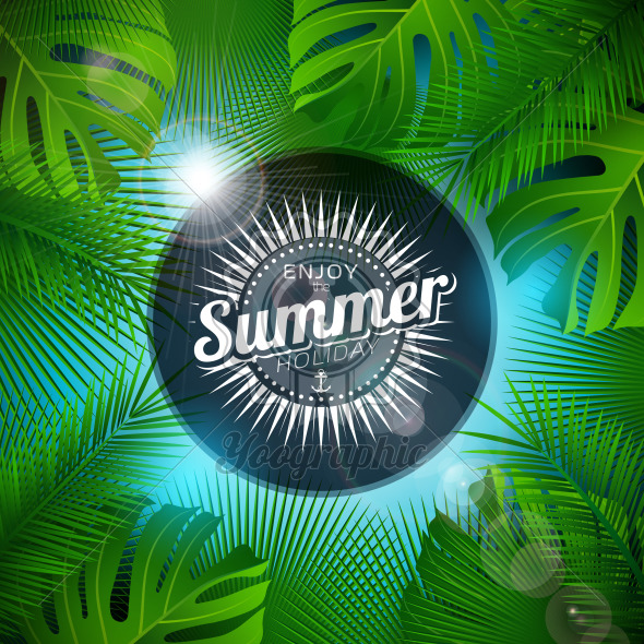 Enjoy the Summer Holiday Illustration with Typography Letter and Tropical Plants on Ocean Blue Background. Vector Design with Exotic Palm Leaves and Phylodendron for Banner, Flyer, Invitation, Brochure, Poster or Greeting Card. - Royalty Free Vector Illustration