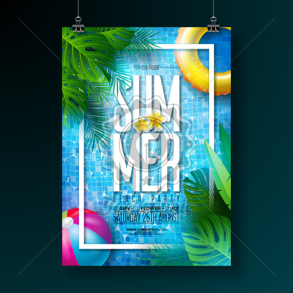 Summer pool party poster design template with water, tropical palm leaves, beach ball and float on blue tiled background. Vector holiday illustration for banner, flyer, invitation, poster. - Royalty Free Vector Illustration