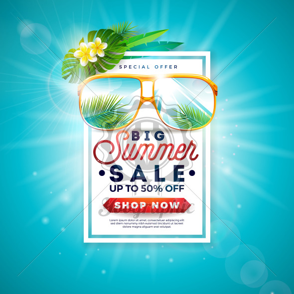 Summer Sale Design with Typography Letter and Exotic Palm Leaves in Sunglasses on Blue Background. Tropical Vector Special Offer Illustration with Coupon, Voucher, Banner, Flyer, Promotional Poster, Invitation or greeting card. - Royalty Free Vector Illustration