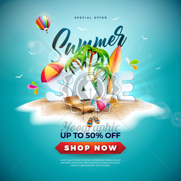 Summer Sale Design with Beach Ball and Exotic Palm Tree on Tropical Island Background. Vector Special Offer Illustration with Holiday Elements for Coupon, Voucher, Banner, Flyer, Promotional Poster, Invitation or greeting card. - Royalty Free Vector Illustration