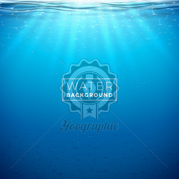 Vector underwater blue ocean background design template. Summer illustration with deep sea scene for banner, flyer, invitation, brochure, poster or greeting card. - Royalty Free Vector Illustration