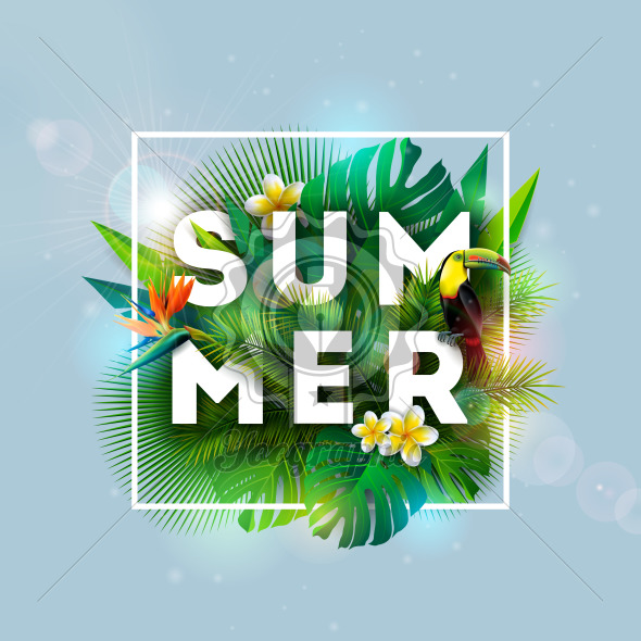 Summer Holiday Design with Toucan Bird, Parrot Flower and Tropical Plants on Blue Background. Vector Illustration with Exotic Palm Leaves and Phylodendron for Banner, Flyer, Invitation, Brochure, Poster or Greeting Card. - Royalty Free Vector Illustration