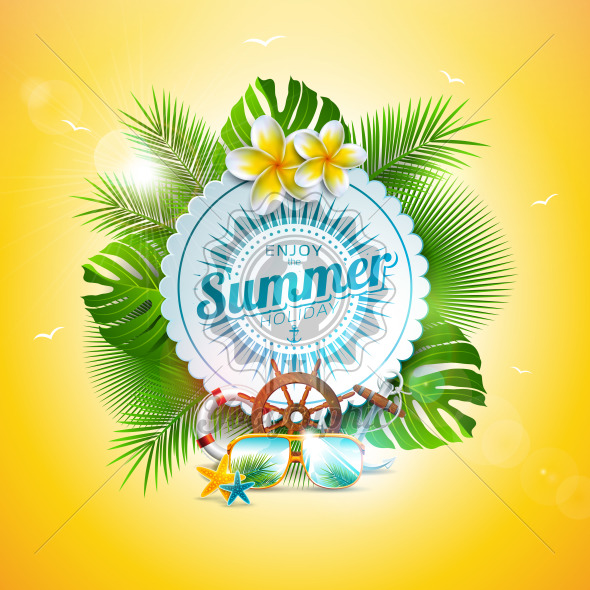 Vector Summer Holiday Illustration with Typography Letter and Tropical Leaves on Yellow Background. Exotic Plants, Flower, Sunglasses and Ship Steering Wheel for Banner, Flyer, Invitation, Brochure, Poster or Greeting Card. - Royalty Free Vector Illustration