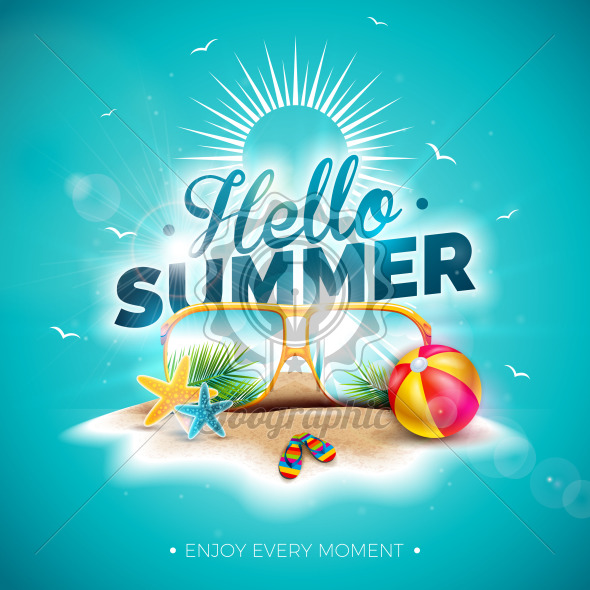 Vector Hello Summer Holiday Illustration with Typography Letter and Sunglasses on Ocean Blue Background. Tropical Plants and Beach Ball on Paradise Island for Banner, Flyer, Invitation, Brochure, Poster or Greeting Card. - Royalty Free Vector Illustration