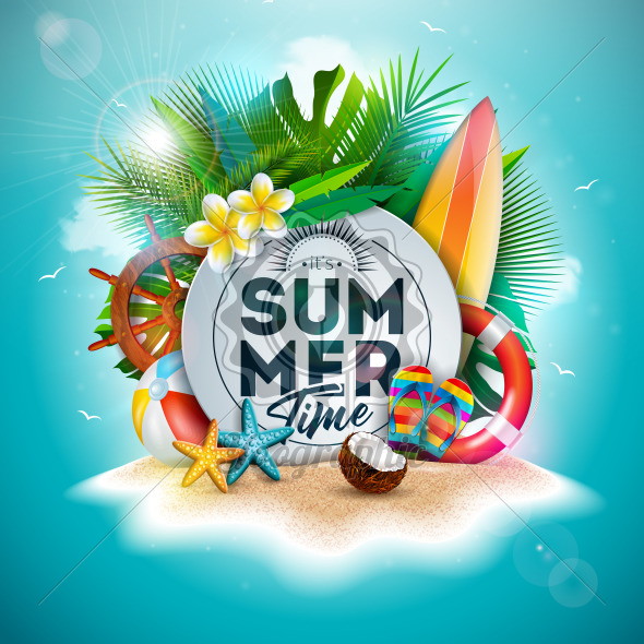 Vector Summer Time Holiday Illustration with Flower and Tropical Palm Leaves on Ocean Blue Background. Typography Letter, Lifebelt, Beach Ball and Surf Board on Paradise Island for Banner, Flyer, Invitation, Brochure, Poster or Greeting Card. - Royalty Free Vector Illustration