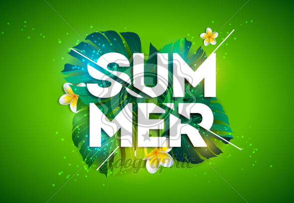 Vector Summer Holiday Illustration with Typography Letter and Tropical Palm Leaves on Green Background. Exotic Plants and Flowe for Banner, Flyer, Invitation, Brochure, Poster or Greeting Card. - Royalty Free Vector Illustration