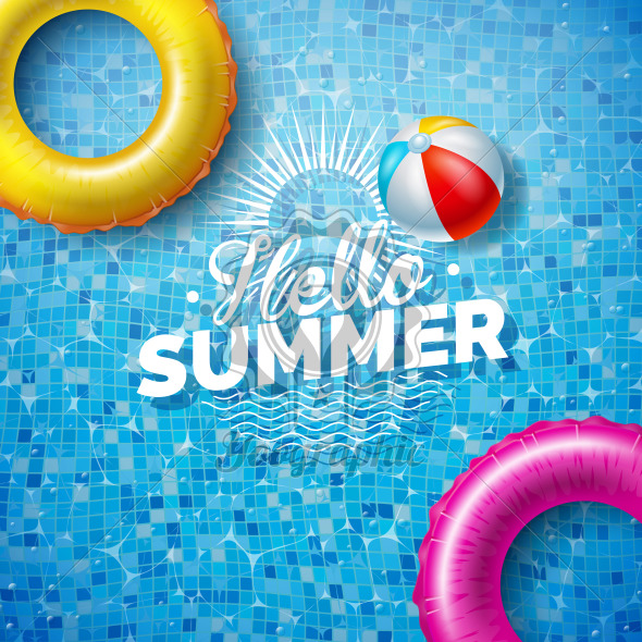 Summer Illustration with Float on Water in the Tiled Pool Background. Vector Summer Holiday Design Template for Banner, Flyer, Invitation, Brochure, Poster or Greeting Card. - Royalty Free Vector Illustration
