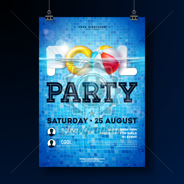 Summer pool party poster design template with water, beach ball and float on blue tiled background. Vector holiday illustration for banner, flyer, invitation, poster. - Royalty Free Vector Illustration