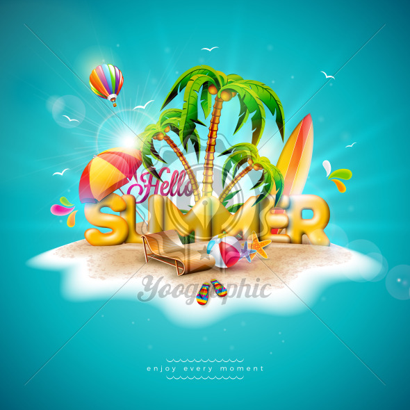 Vector Hello Summer Holiday Illustration with 3d Typography Letter on Ocean Blue Background. Tropical Plants, Flower, Beach Ball, Air Balloon, Surf Board and Sunshade for Banner, Flyer, Invitation, Brochure, Poster or Greeting Card. - Royalty Free Vector Illustration