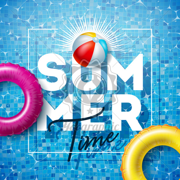 Summer Time Illustration with Float and Beach Ball on Water in the Tiled Pool Background. Vector Summer Holiday Design Template for Banner, Flyer, Invitation, Brochure, Poster or Greeting Card. - Royalty Free Vector Illustration