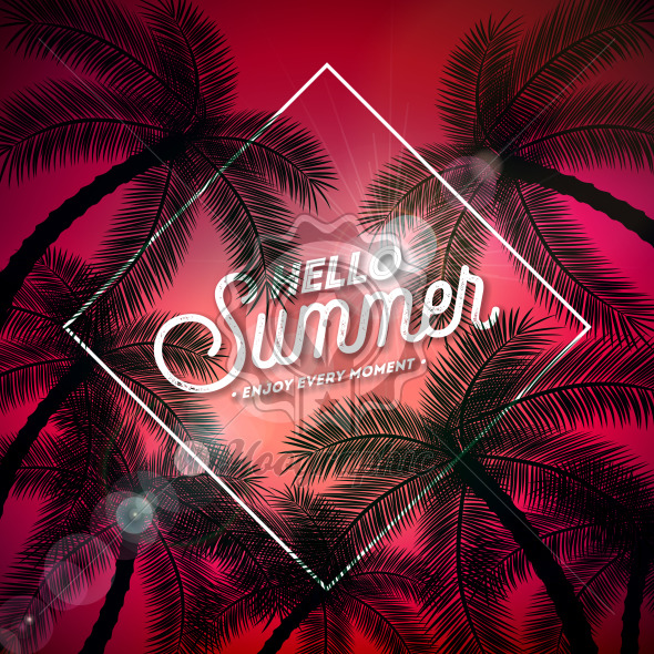 Hello Summer Illustration with Typography Letter and Tropical Palm Trees on Red Background. Vector Holiday Design with Exotic Palm Leaves for Banner, Flyer, Invitation, Brochure, Party Poster or Greeting Card. - Royalty Free Vector Illustration