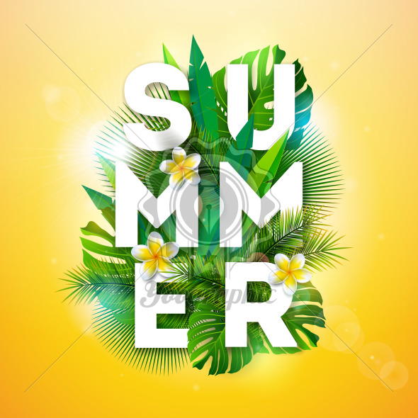 Vector Summer Holiday Illustration with Typography Letter and Tropical Palm Leaves on Yellow Background. Exotic Plants and Flowe for Banner, Flyer, Invitation, Brochure, Poster or Greeting Card. - Royalty Free Vector Illustration