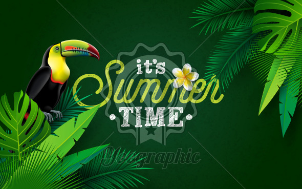 It's Summer Time Illustration with Flower and Toucan Bird on Green Background. Vector Tropical Holiday Design with Exotic Palm Leaves and Phylodendron for Banner, Flyer, Invitation, Brochure, Poster or Greeting Card. - Royalty Free Vector Illustration