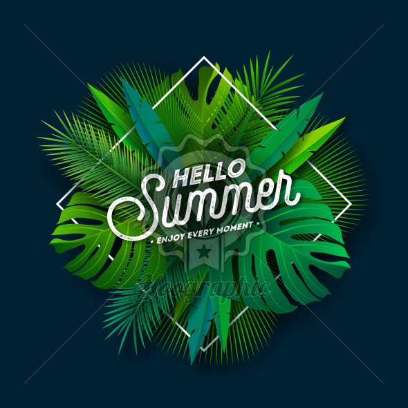 It's Summer Time Illustration with Typography Letter and Tropical Plants on Blue Background. Vector Holiday Design with Exotic Palm Leaves and Phylodendron for Banner, Flyer, Invitation, Brochure, Poster or Greeting Card. - Royalty Free Vector Illustration