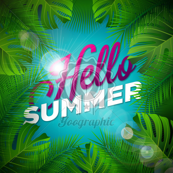 Hello Summer Illustration with Typography Letter and Tropical Plants on Ocean Blue Background. Vector Holiday Design with Exotic Palm Leaves and Phylodendron for Banner, Flyer, Invitation, Brochure, Poster or Greeting Card. - Royalty Free Vector Illustration