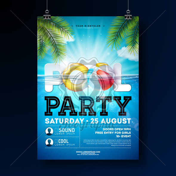 Summer pool party poster design template with water, beach ball and float on blue ocean landscape background. Vector holiday illustration for banner, flyer, invitation, poster. - Royalty Free Vector Illustration