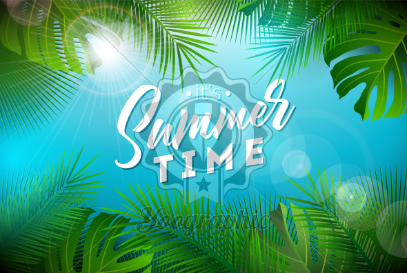 Summer Time Illustration with Typography Letter and Tropical Plants on Ocean Blue Background. Vector Holiday Design with Exotic Palm Leaves and Phylodendron for Banner, Flyer, Invitation, Brochure, Poster or Greeting Card. - Royalty Free Vector Illustration