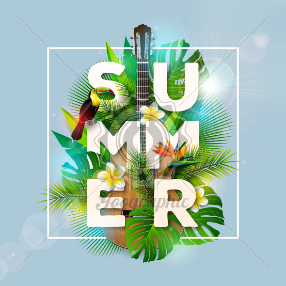 Summer Holiday Design with Toucan Bird, Parrot Flower and Acoustic Guitar on Blue Background. Vector Illustration with Tropical Plants, Exotic Palm Leaves and Phylodendron for Banner, Flyer, Invitation, Brochure, Poster or Greeting Card. - Royalty Free Vector Illustration