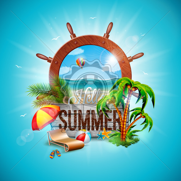 Vector Summer Holiday Illustration with Ship Steering Wheel and Exotic Palm Leaves on Blue Background. Vintage Wood Board, Exotic Plants, Flower, Beach Ball and Sunshade for Banner, Flyer, Invitation, Brochure, Poster or Greeting Card. - Royalty Free Vector Illustration