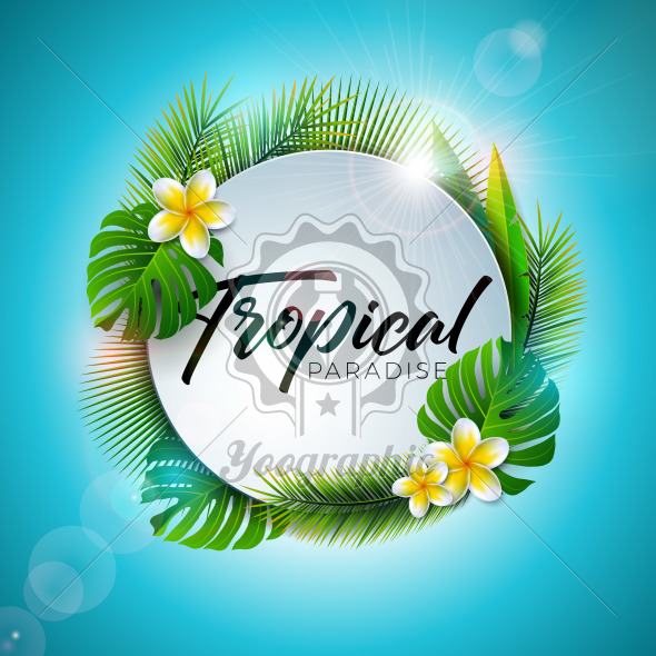 Summer Tropical Paradise Illustration with Typography Letter and Exotic Plants on Blue Background. Vector Holiday Design with Palm Leaves and Phylodendron for Banner, Flyer, Invitation, Brochure, Poster or Greeting Card. - Royalty Free Vector Illustration
