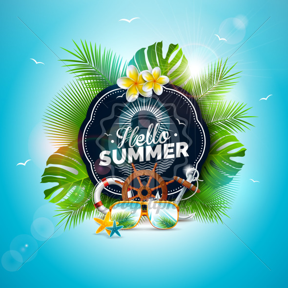 Vector Hello Summer Holiday Illustration with Typography Letter and Tropical Leaves on Ocean Blue Background. Exotic Plants, Flower, Sunglasses and Ship Steering Wheel for Banner, Flyer, Invitation, Brochure, Poster or Greeting Card. - Royalty Free Vector Illustration
