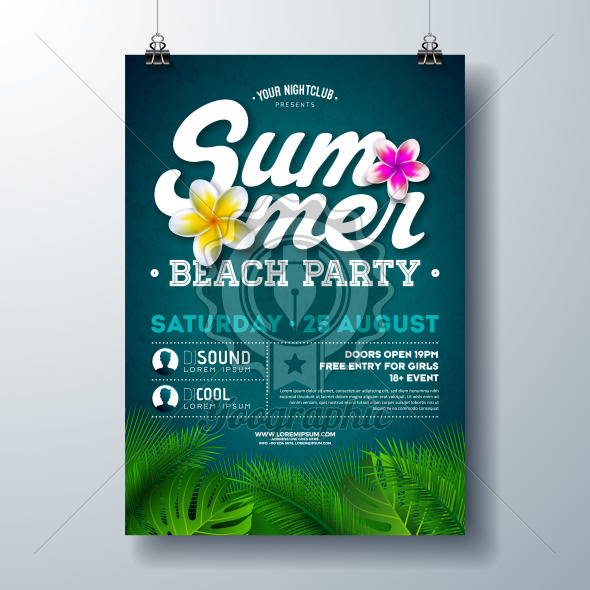 Vector Summer Beach Party Flyer Design with Flower and Tropical Palm Leaves on Blue Background. Summer Holiday Illustration with Exotic Plants and Typography Letter for Banner, Flyer, Invitation or Poster. - Royalty Free Vector Illustration