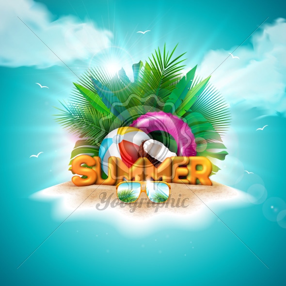 Vector Hello Summer Holiday Illustration with 3d Typography Letter on Ocean Blue Background. Tropical Plants, Flower, Beach Ball, Coconut, Float and Sunshade for Banner, Flyer, Invitation, Brochure, Poster or Greeting Card. - Royalty Free Vector Illustration
